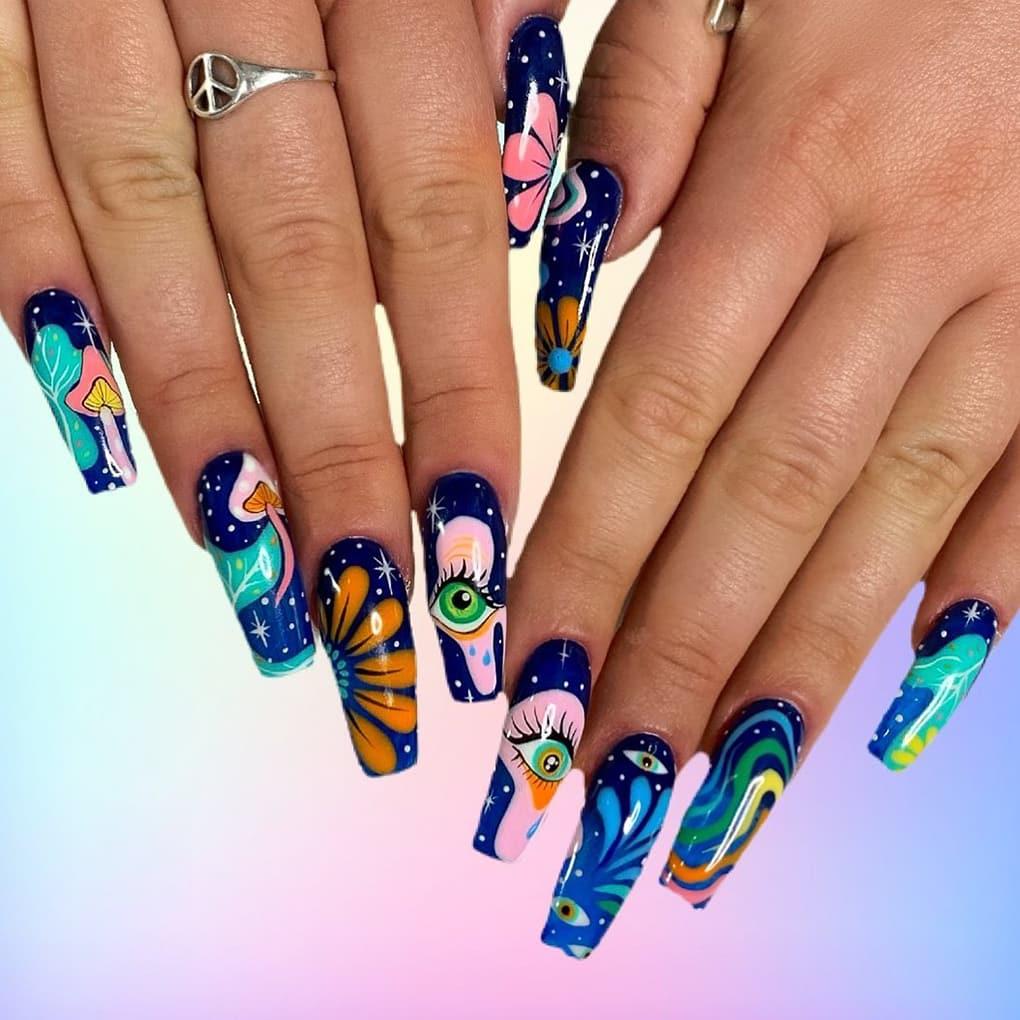 boho blue nails